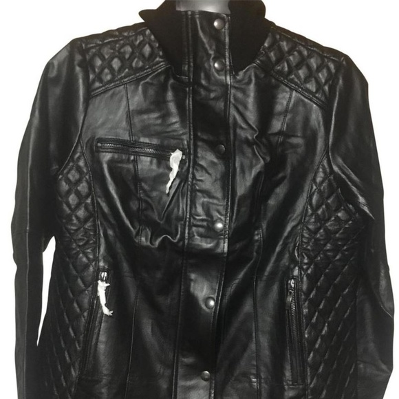 Jessica London Jackets & Blazers - NWT 14W Plus Size real leather quilted Moto Jacket